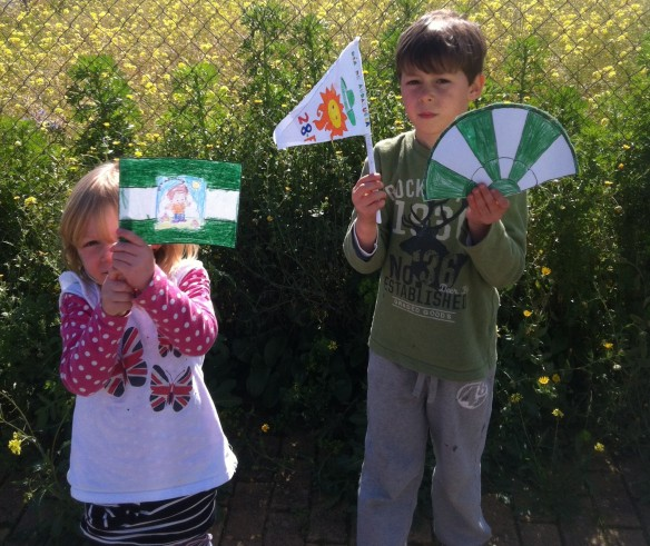 Flag, fan and pennant in the regional green and white to celebrate Dia de Andalucia, 28 February.