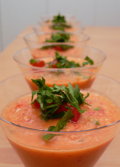 Gazpacho andaluz - chilled tomato soup, as made to perfection by every Spaniard's mother. Credit: Harlan Harris, under Creative Commons licence.