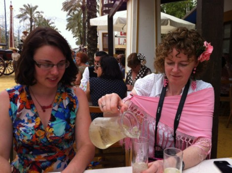 With food blogger Nicola, enjoying our first jug of rebujito. Photo courtesy of Sevilla Tapas.