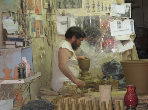 Antonio Campos, a an all-too-rare real-life potter, in his workshop near the centre.