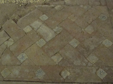 Floor from medieval church, with typical ceramic tiles. They've last well, haven't they?