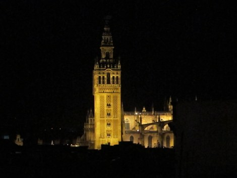 Giralda and cathedral at night, seen from the roof of El Salvador church, its arch-rival.