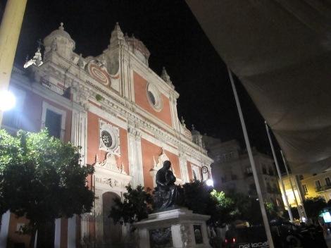 Salvador church seen at night.