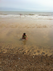 Shallow water, perfect for shell hunting and safe splashing.