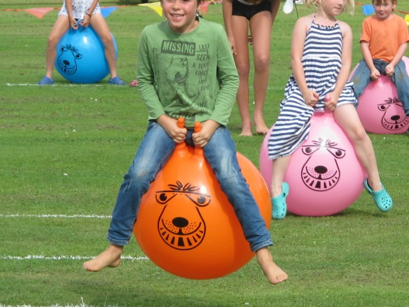 My son wins the spacehopper race by about a mile. Not that I'm competitive or anything.