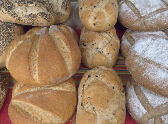 Organic bread from Al A>ndalusi, in Sanlucar La Mayor. We went for the olive and cumin loaf, second from right.