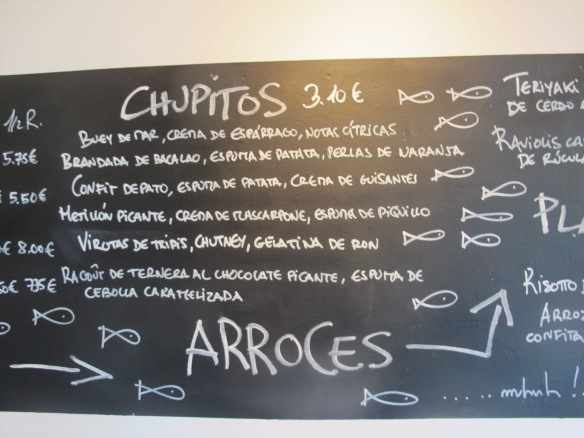 Menu at the excellent Los Cuatro Gatos in Vejer.